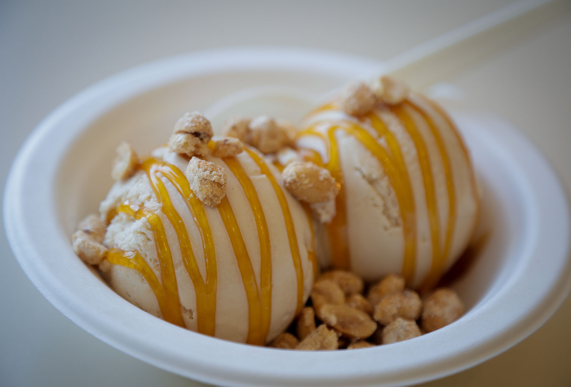 The Whos Your Daddy Sundae, made with beer ice cream, house-made frosted peanuts and bourbon caramel sauce.