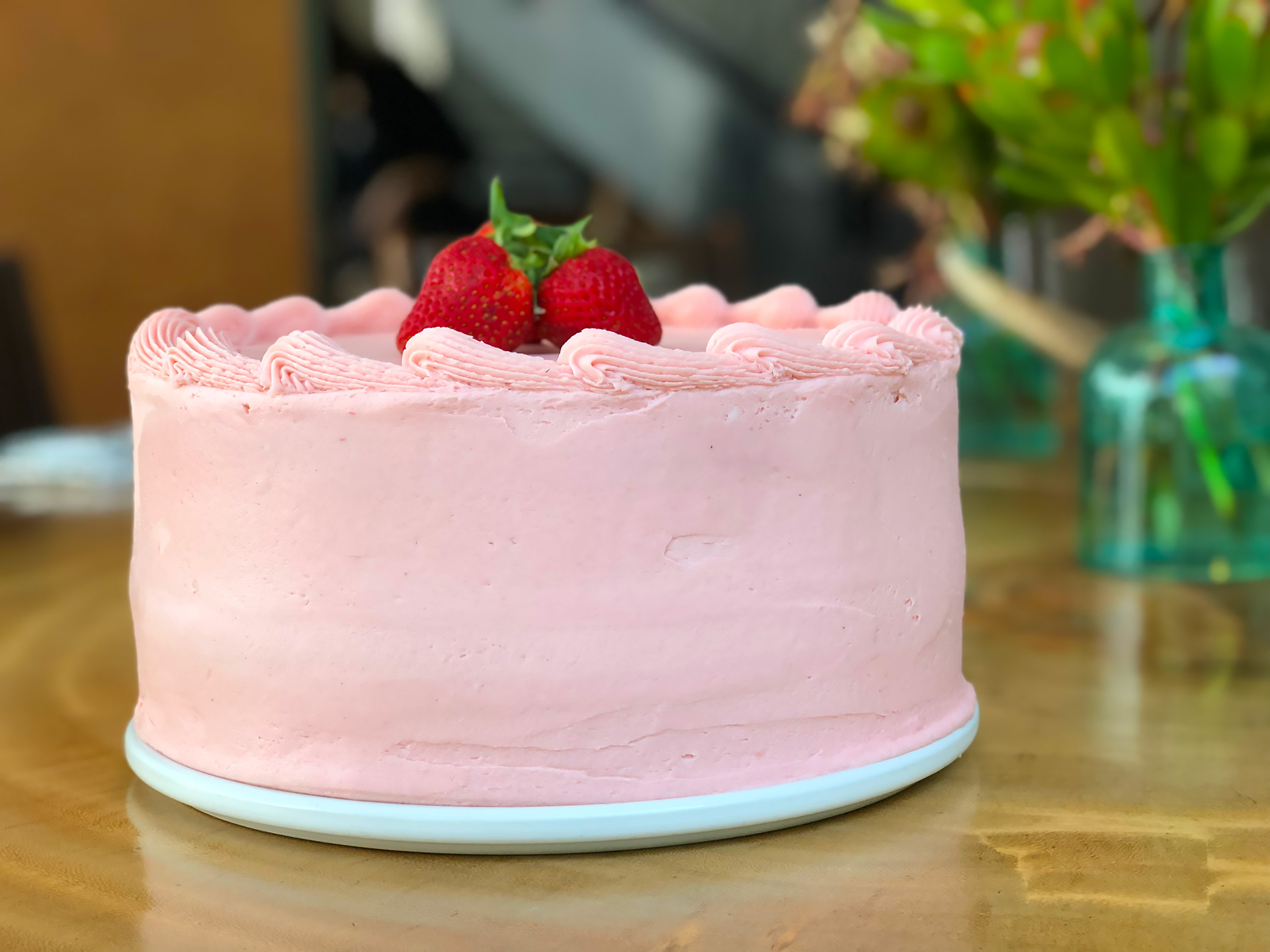 Enjoy the Strawberry Tall Cake at Bluestem Brasserie.
