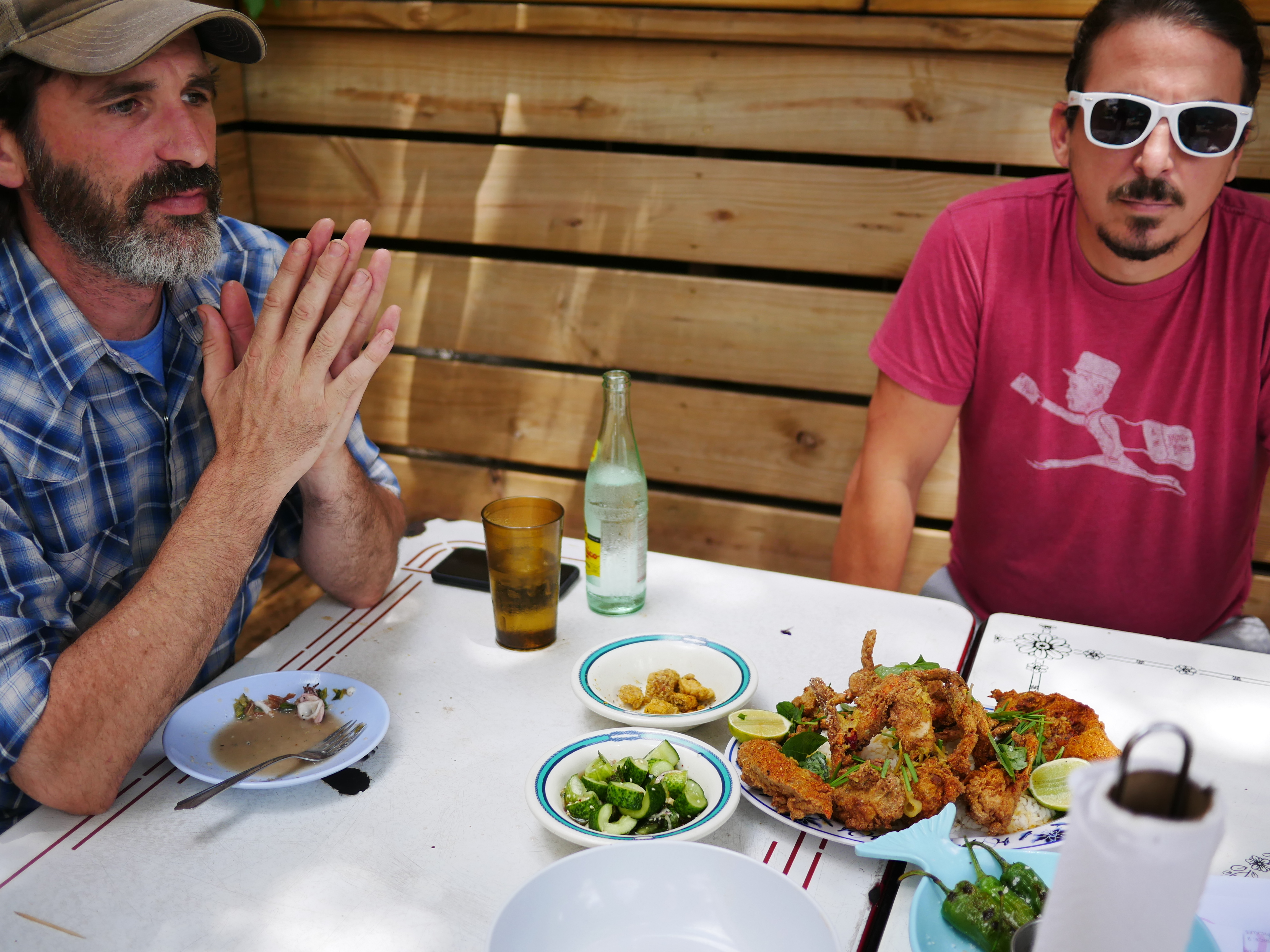 Toby Rodriguez (left) launched a career as a traveling butcher after he was featured on a 2011 episode of Anthony Bourdain's No Reservations. Now he plans to open a restaurant in New Orleans with Barrett Dupuis (right) as general manager. Rodriguez says the late Bourdain was accurate and unflinching in his portrayal of Cajun country.