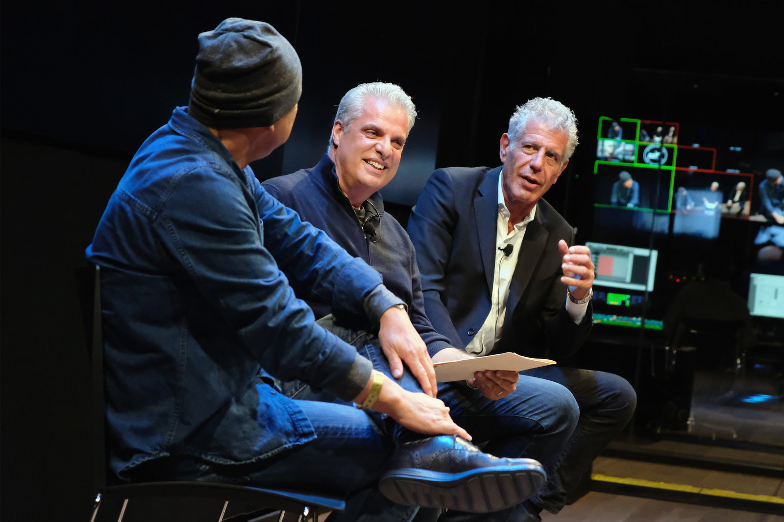 Chefs Masa Takayama (left), Eric Ripert and Anthony Bourdain during a screening of Anthony Bourdain: Parts Unknown in 2016 in New York City.