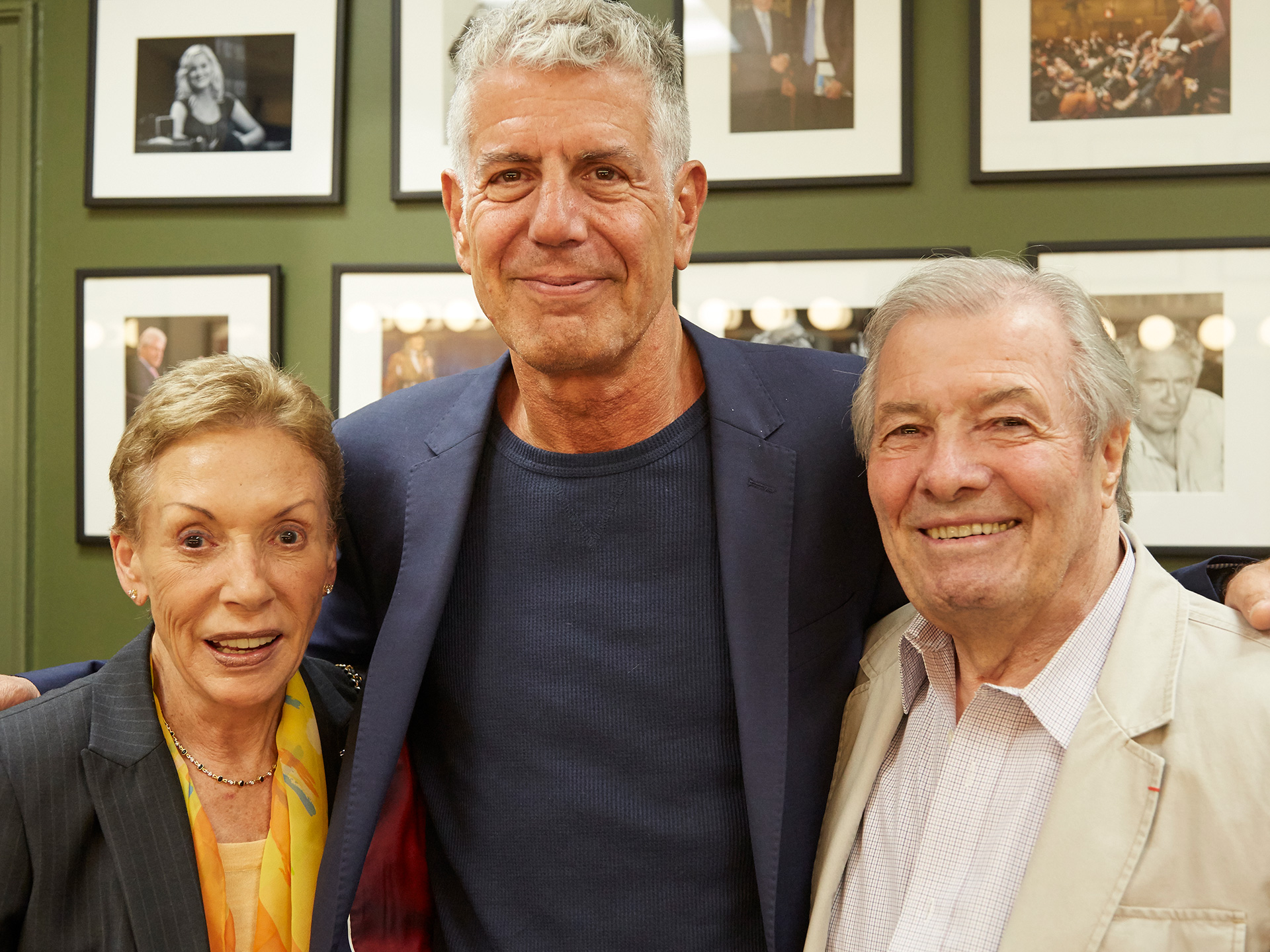 "Gloria Pépin, Anthony Bourdain and Jacques Pépin at event in October 2015 at the 92nd Street Y in New York City. Tony moderated a discussion about Jacques"" book Heart and Soul."