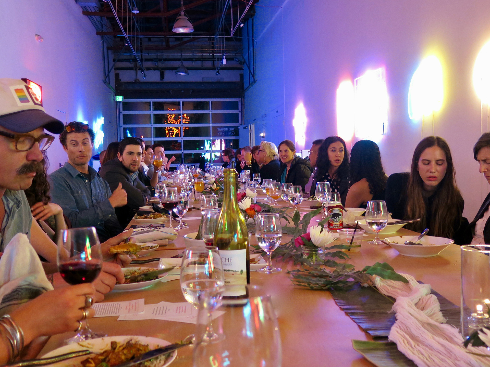 The last Midway Gallery dinner during the She Bends neon show.