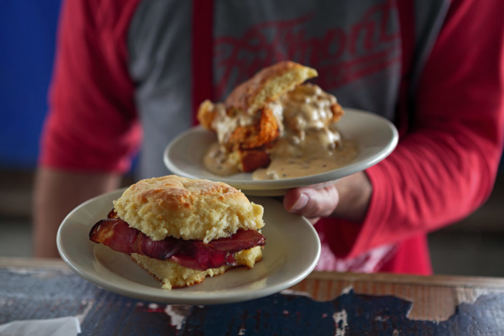 Chicken biscuit and ham biscuit from Fremont Diner in Sonoma.