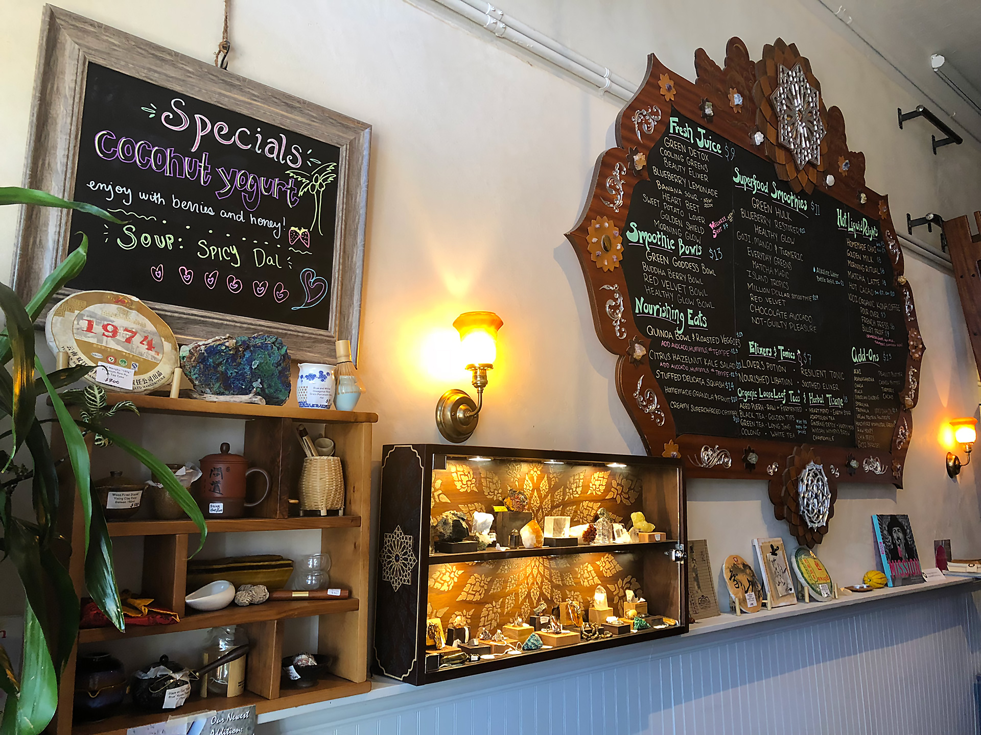 The menu displayed as art at the Beloved Café.