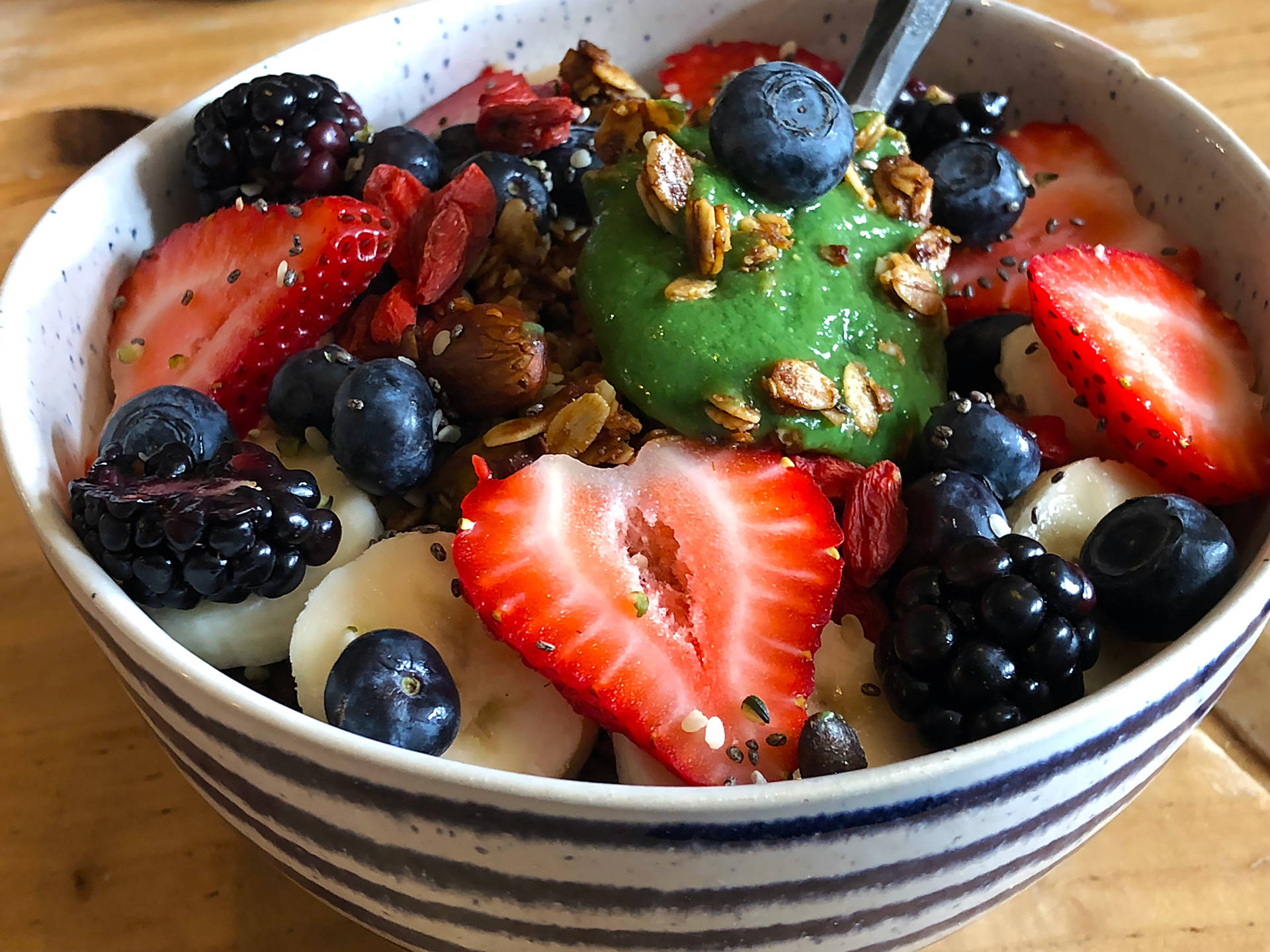 Beloved Café's Green Goddess Bowl ($13): avocado, spinach, dates, ginger, lime, coconut water, topped with homemade granola, banana, fresh berries, goji berries, hemp seeds, chia seeds and maca. This bowl was great for getting energized at the start of a day. A perfect combo of sweet and savory. Wendy Goodfriend