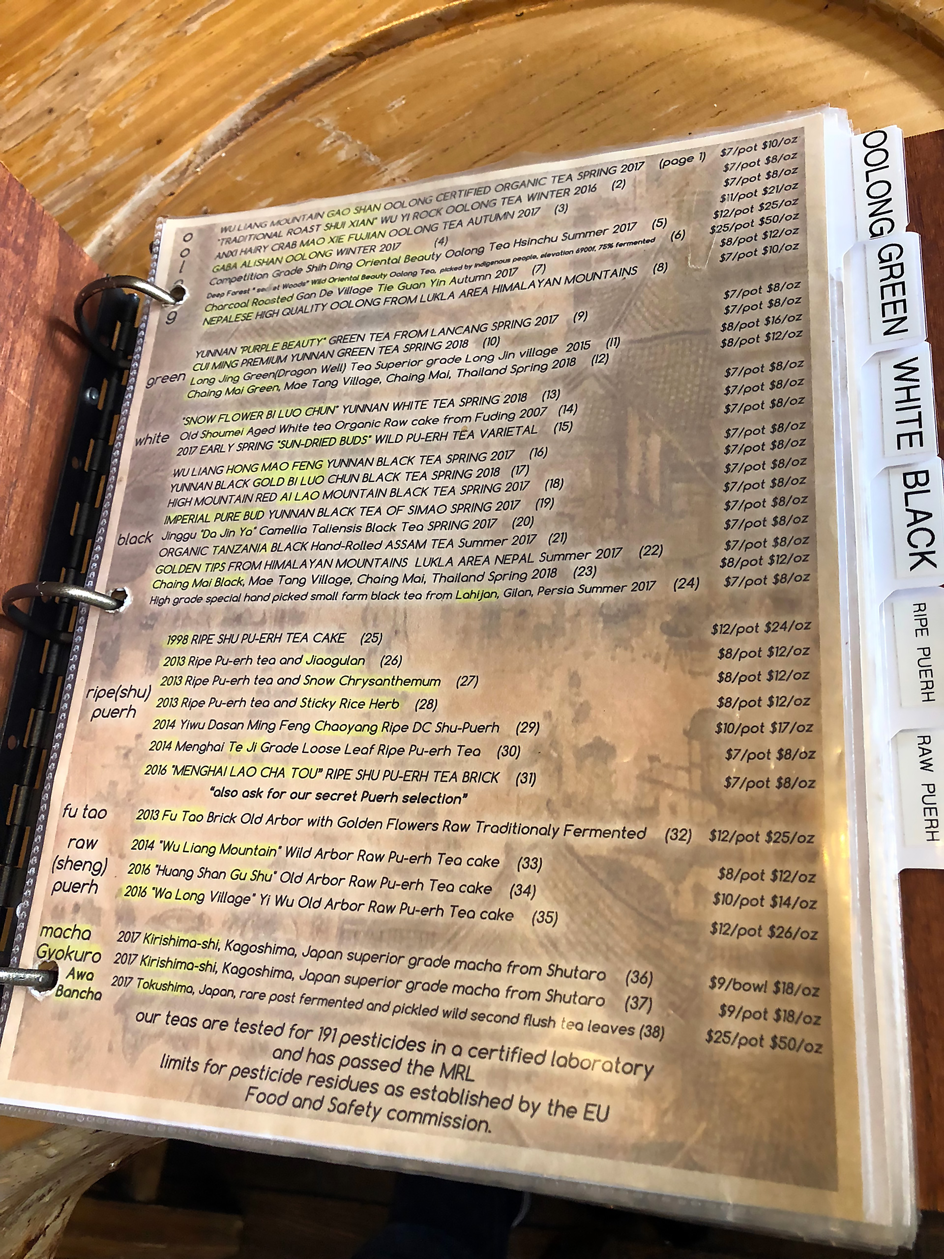 The extensive organic tea menu.