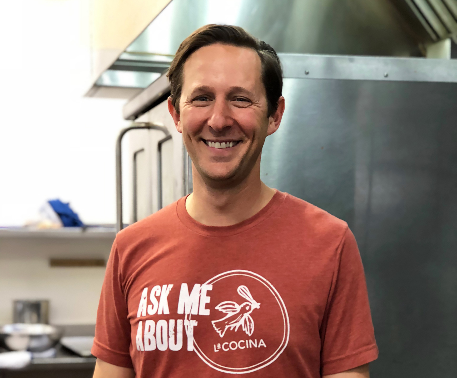 La Cocina's Executive Director Caleb Zigas in the kitchen at La Cocina headquarters.
