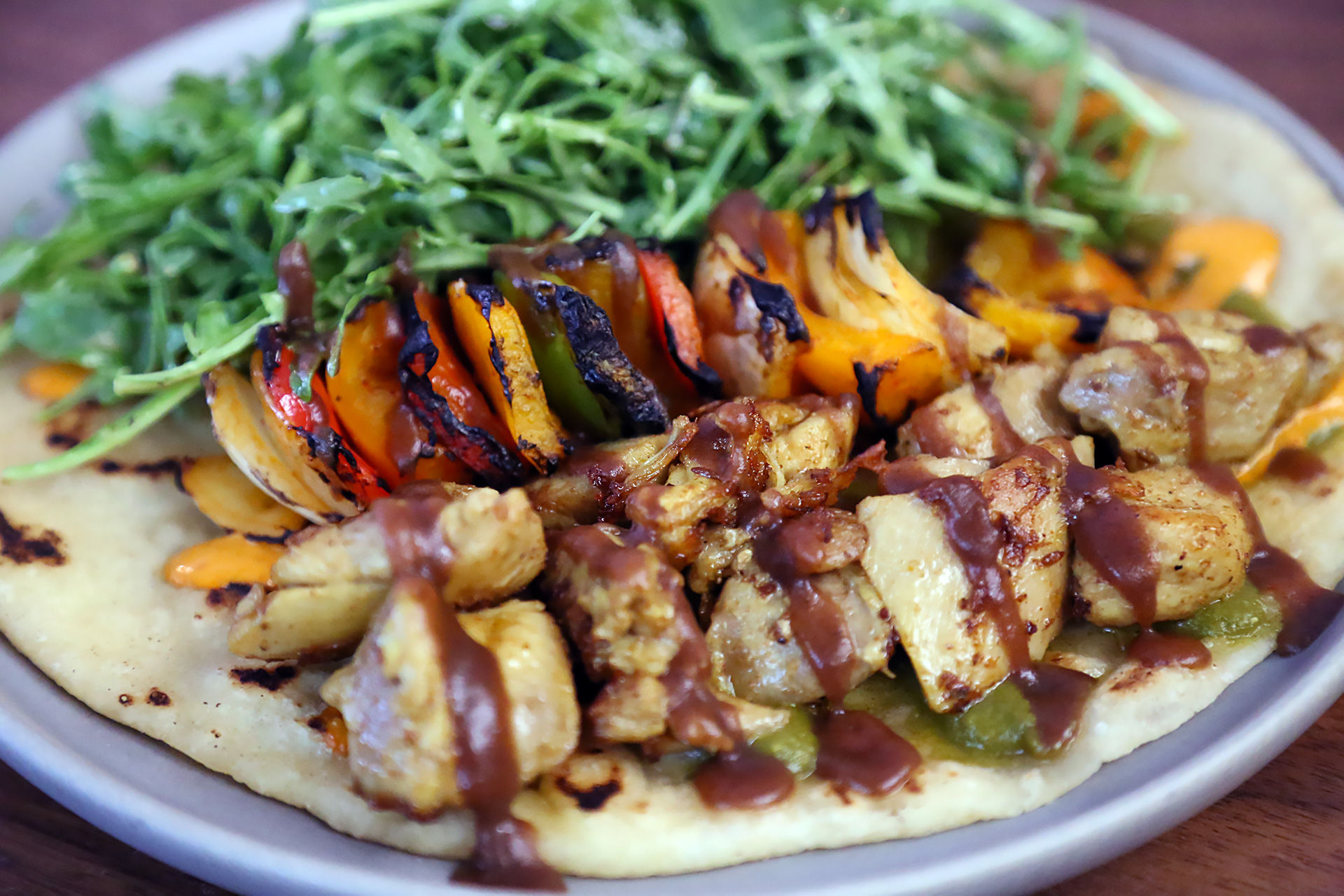 Grilled Chicken Kabobs: Hand-rolled flatbread, spiced garlic chutney.