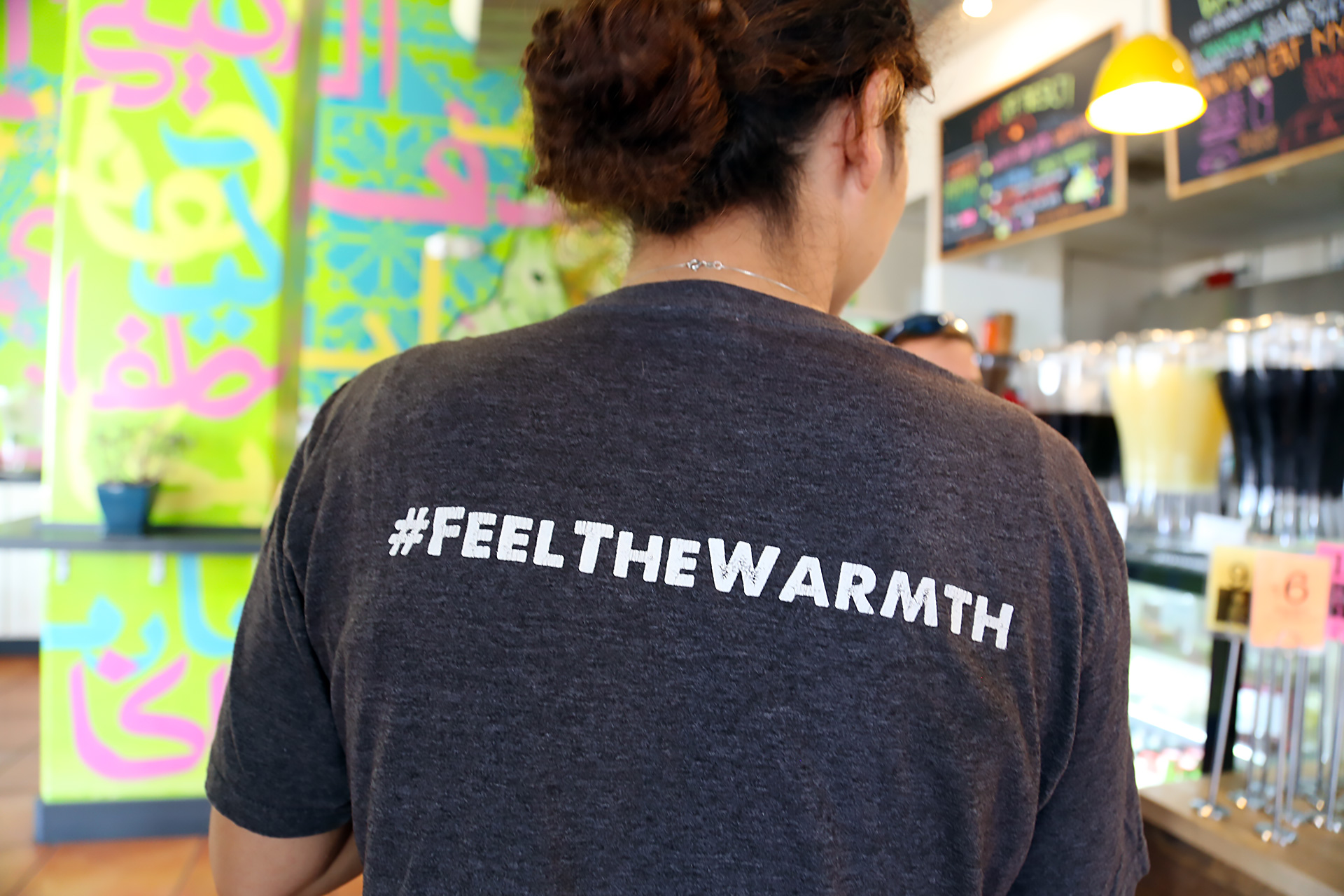#FEELTHEWARMTH at Reem's. Reem Assil, the Chef-Owner wearing her restaurant's t-shirt.