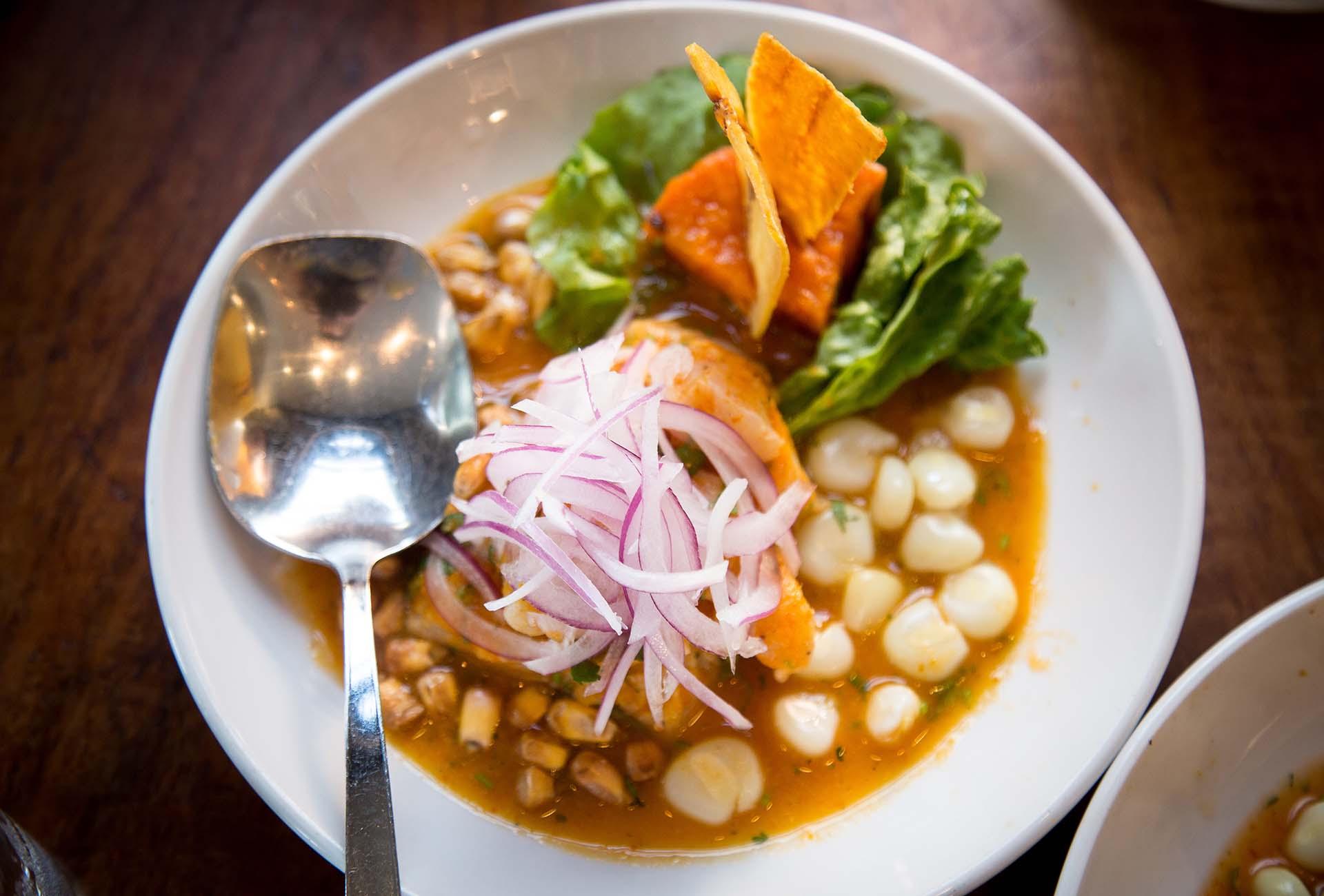 The Cebiche Pescado is marinated in leche de tigre and rocoto peppers