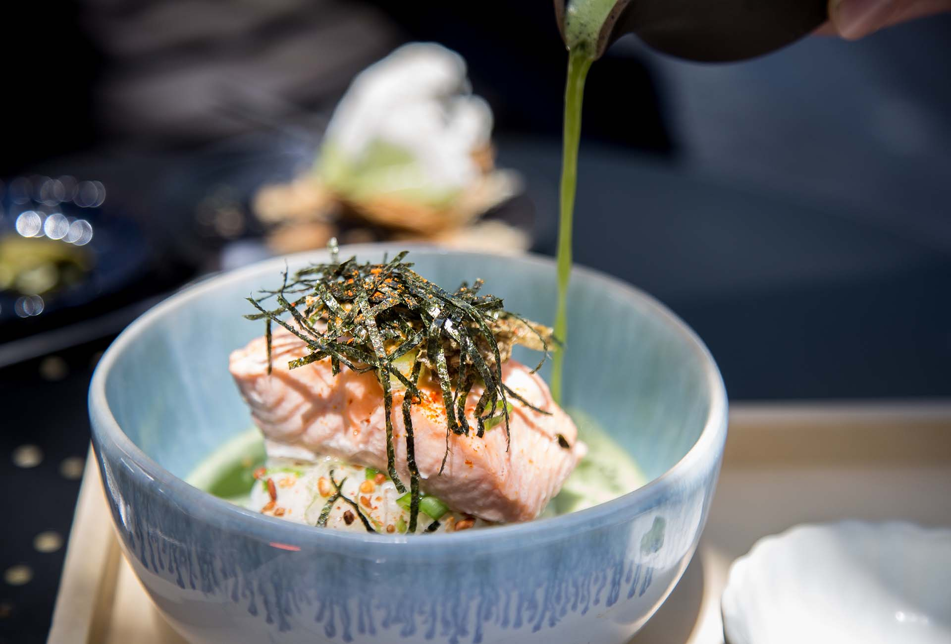The Matchazuke is essentially a rice bowl with salmon and doused in chicken dashi and matcha tea