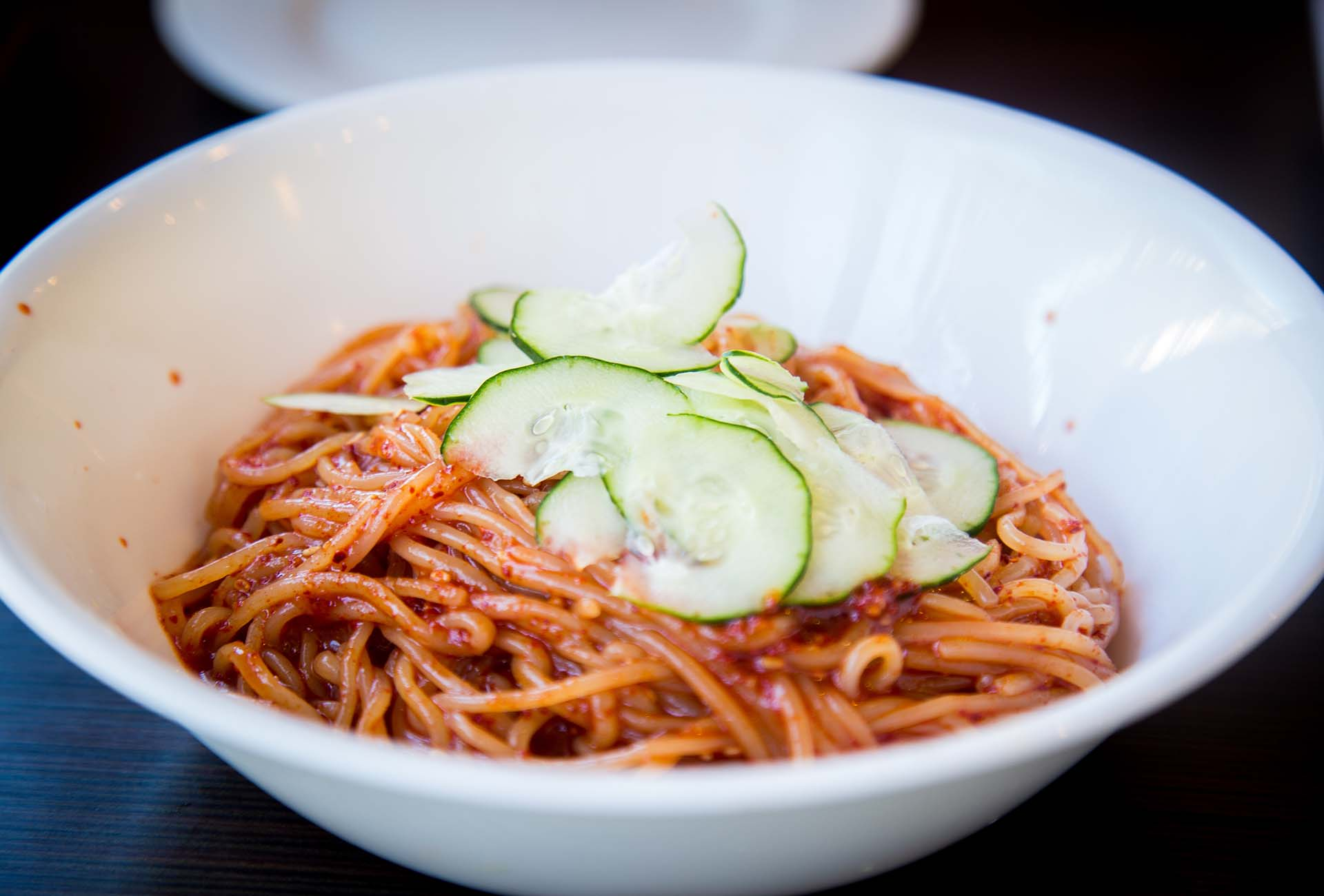 The chol-myun, or spicy cold noodles with cucumbers