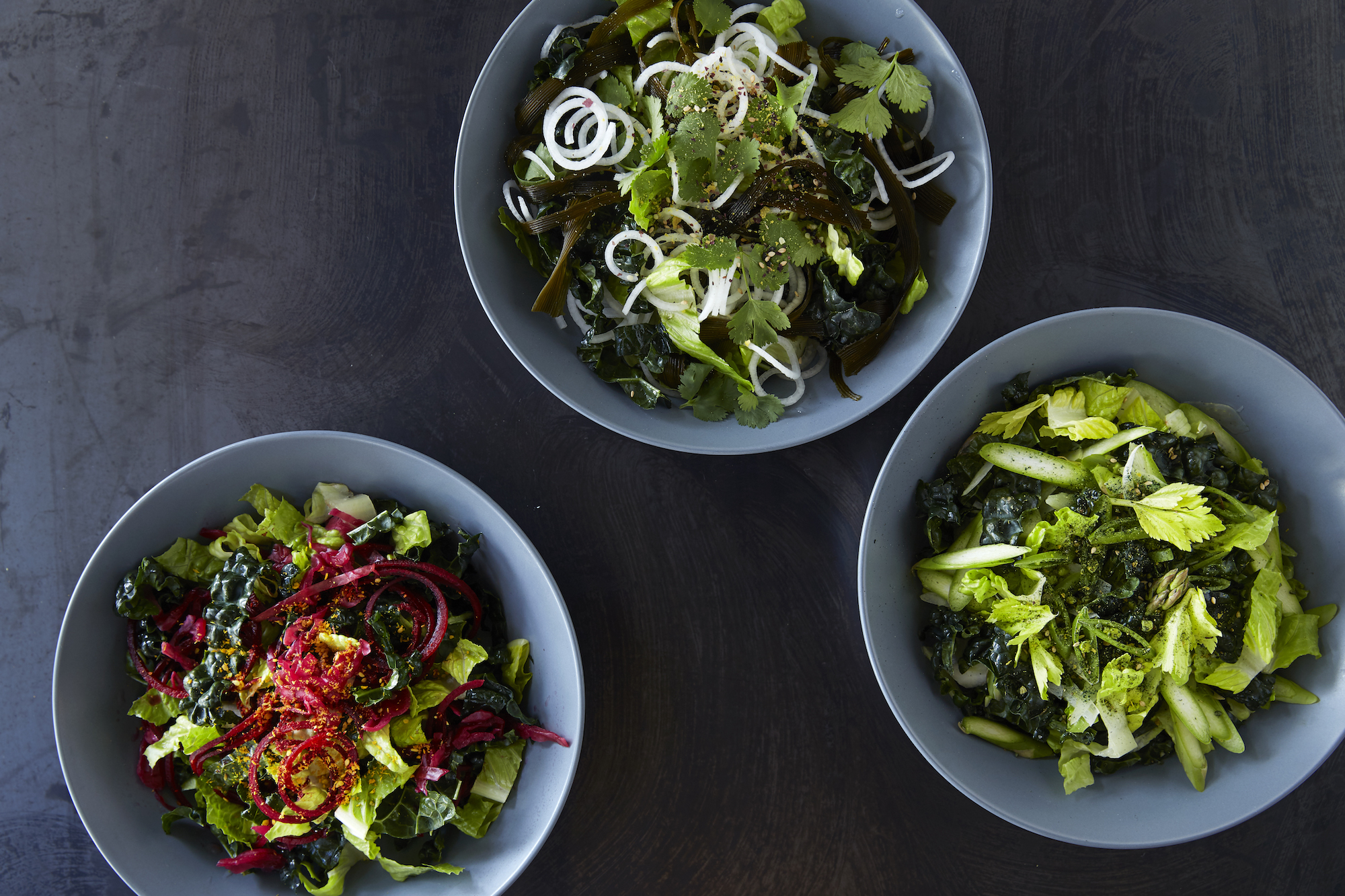 Some of the flavor- and nutrient-packed salads at Booster Foods.