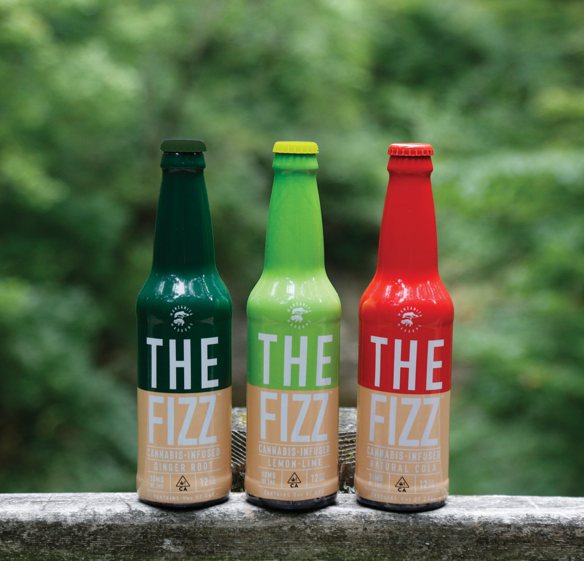 The three THC-infused flavors of The Fizz from Manzanita and Madrone.