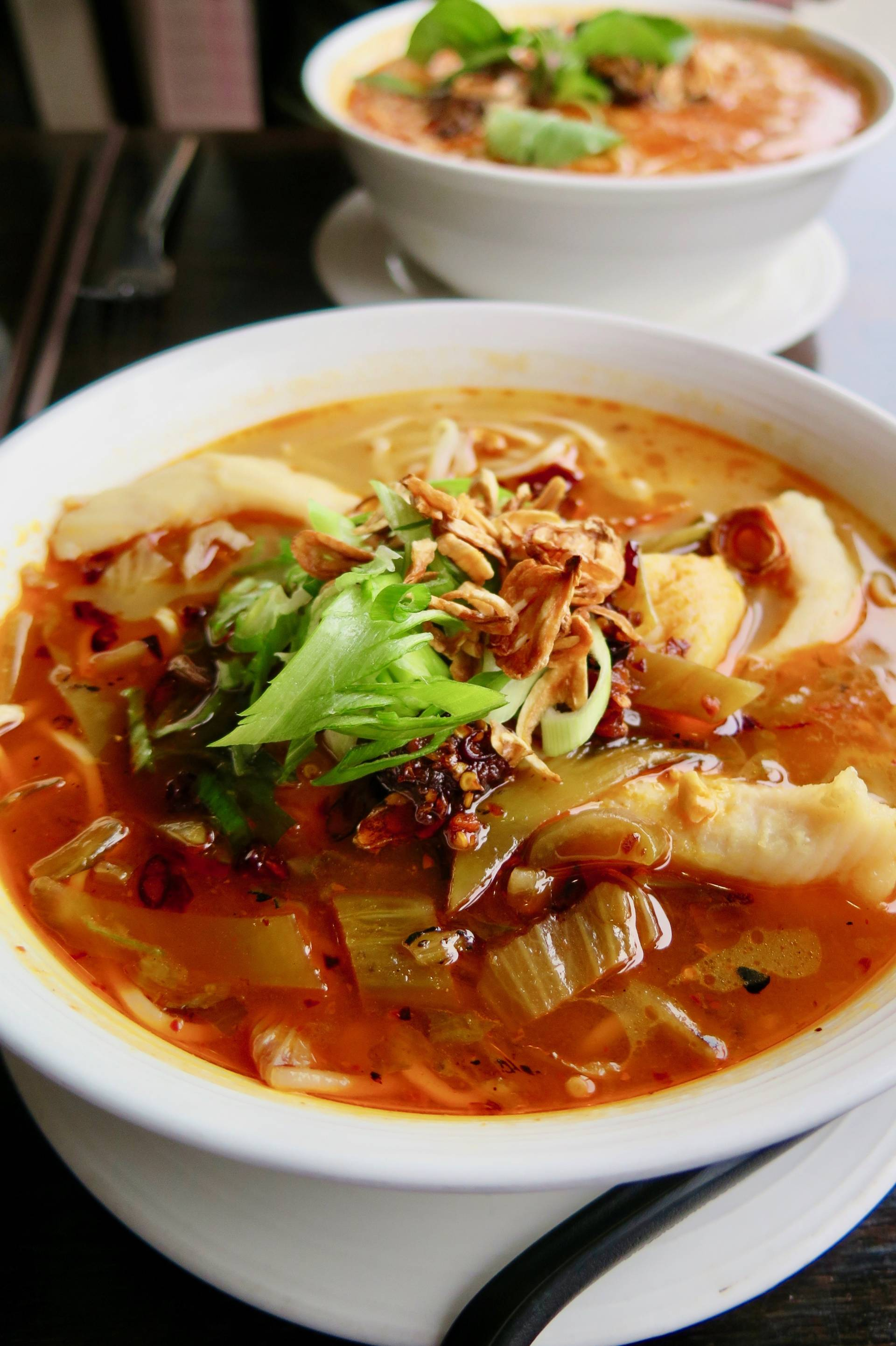 Warm up your body (and your face) with the Sichuan sole ramen at Tuezday Noodz Day.