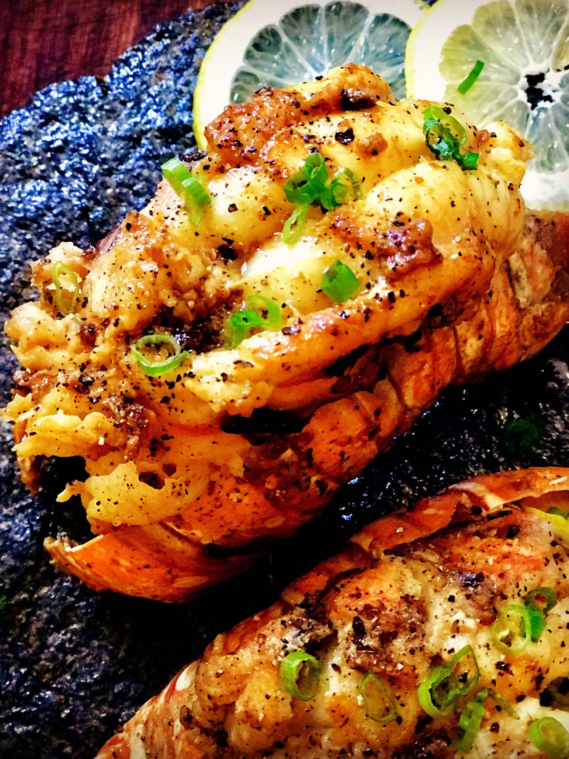 A lemon pepper lobster tail by Andrea Drummer, winner of Netflix's first episode of Cooking on High.