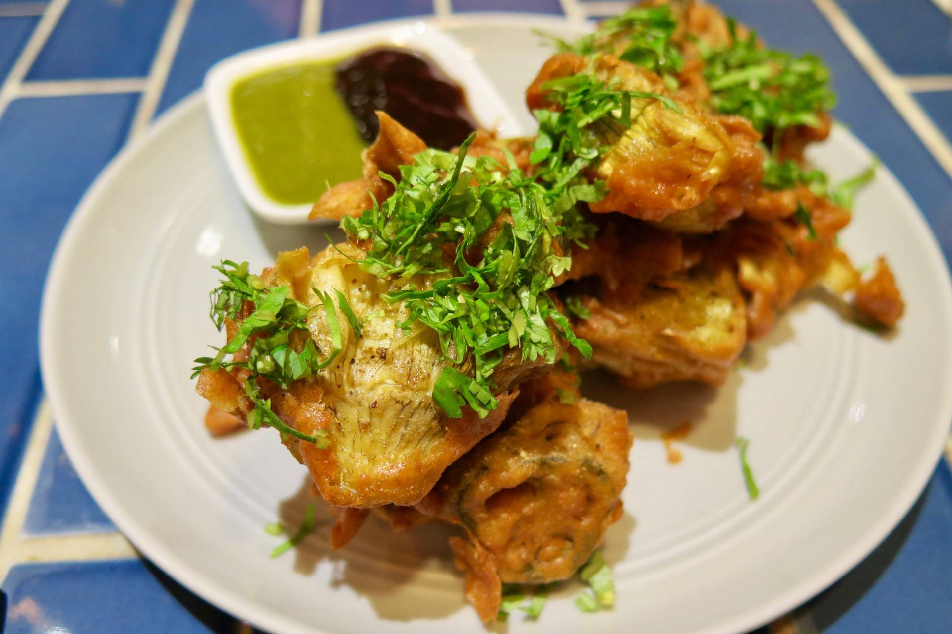 The artichoke pakoras are a great place to start.