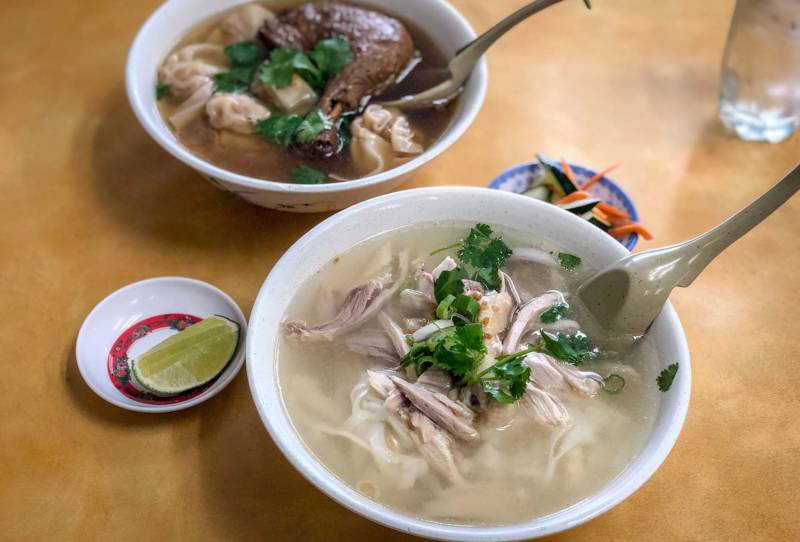 Along with the Dry Pho, the Braised Duck Leg Noodle Soup is a popular dish.