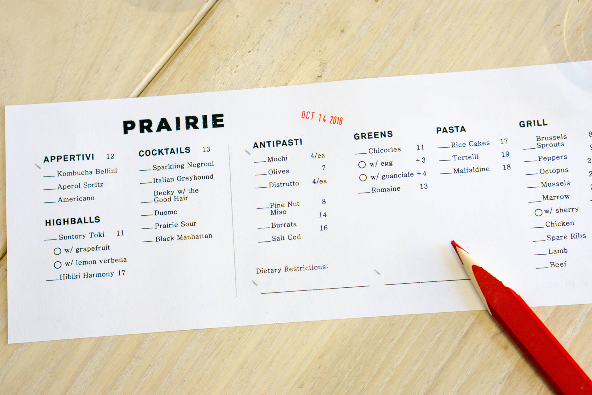 An ordering menu at Prairie.