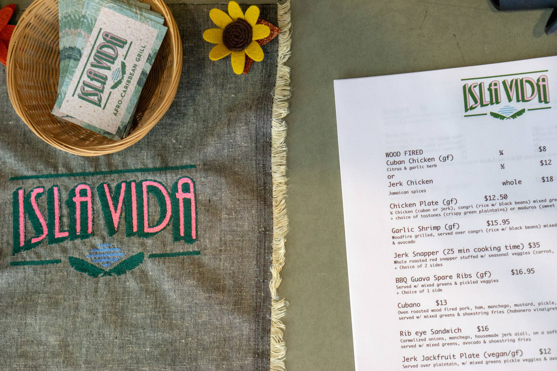The menu at Isla Vida is small, but mighty.