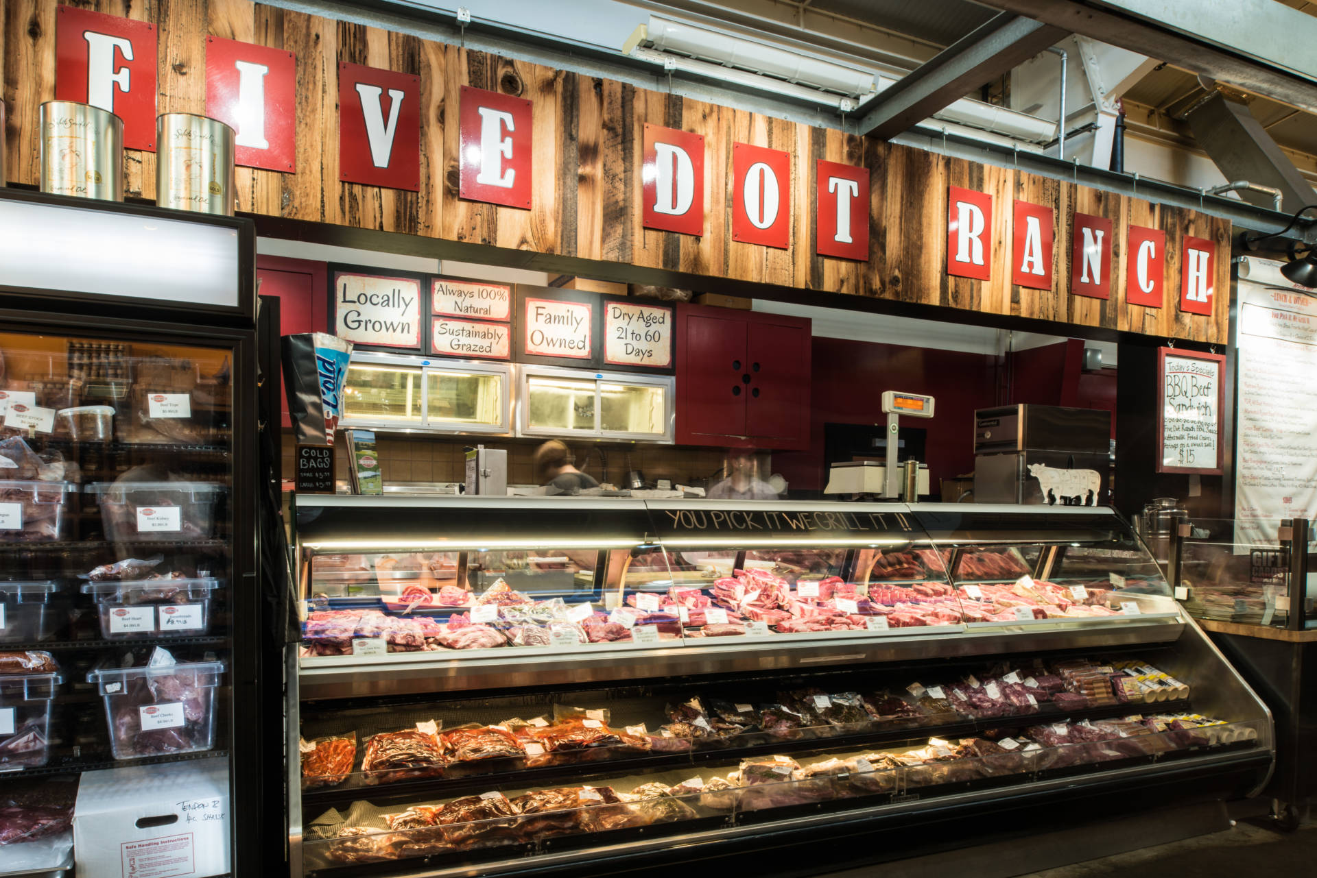 Pick your steak from the meat case and have the team grill it on site.