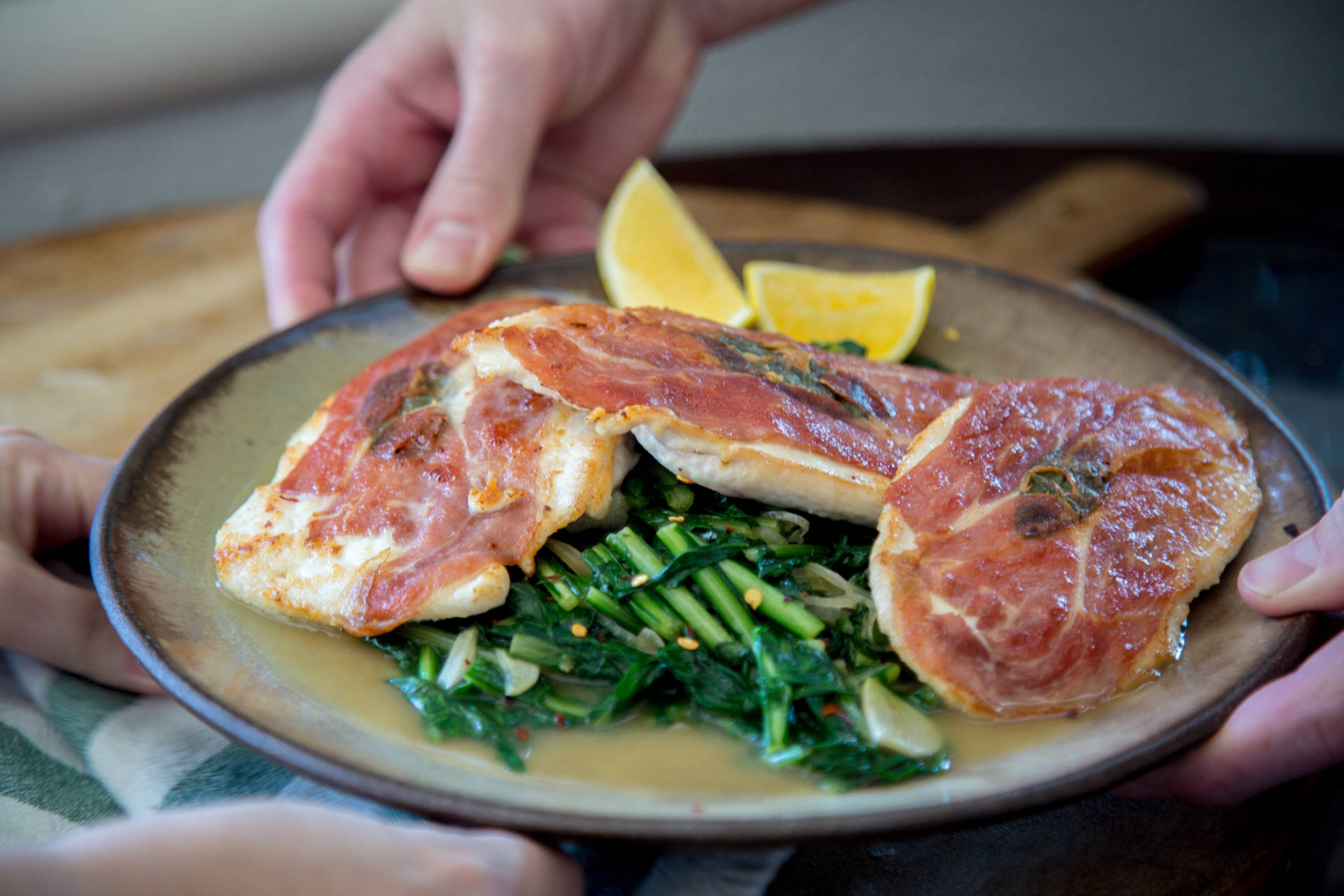 Turkey Saltimbocca with Braised Escarole