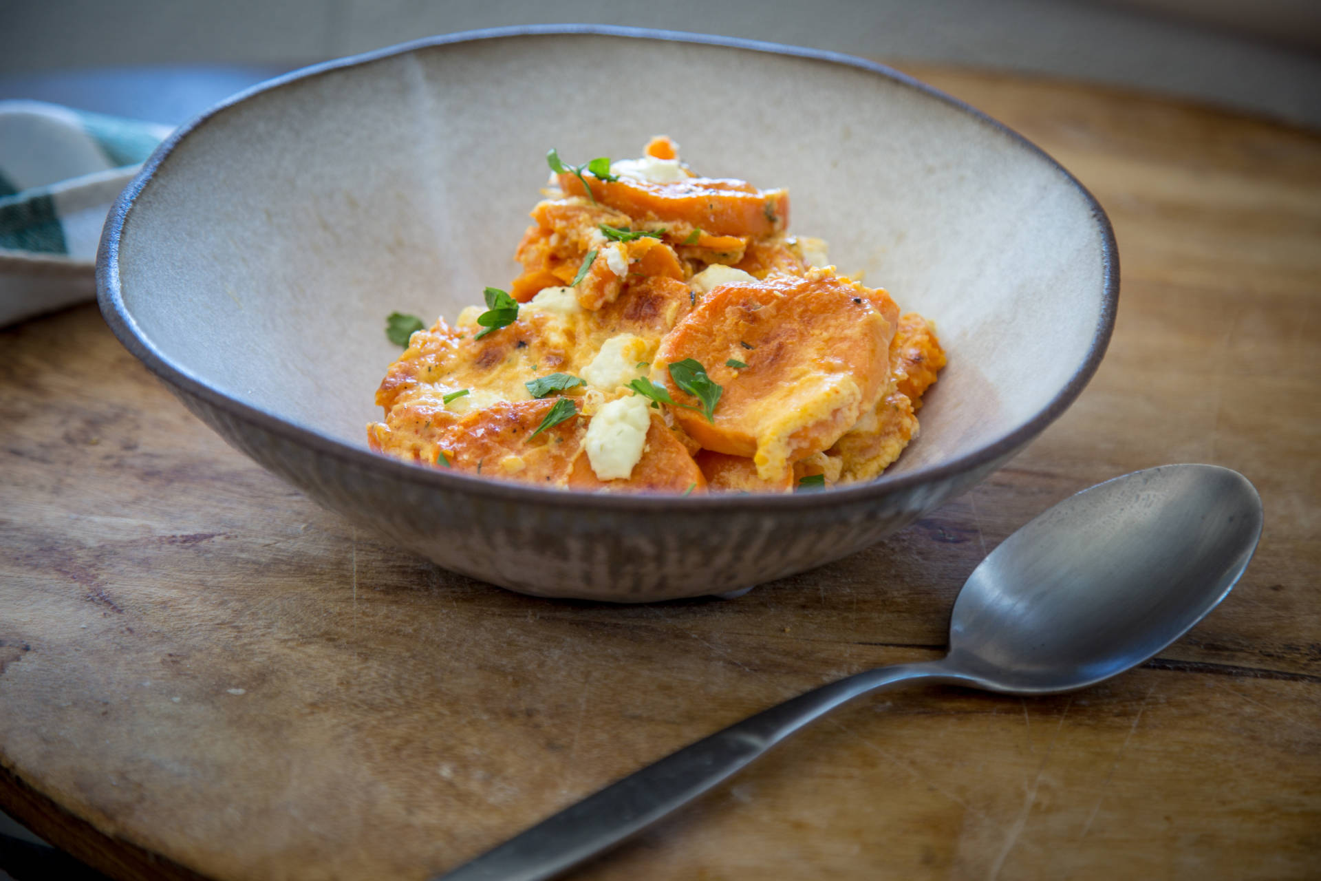 Sweet Potato Gratin with Goat Cheese and Harissa