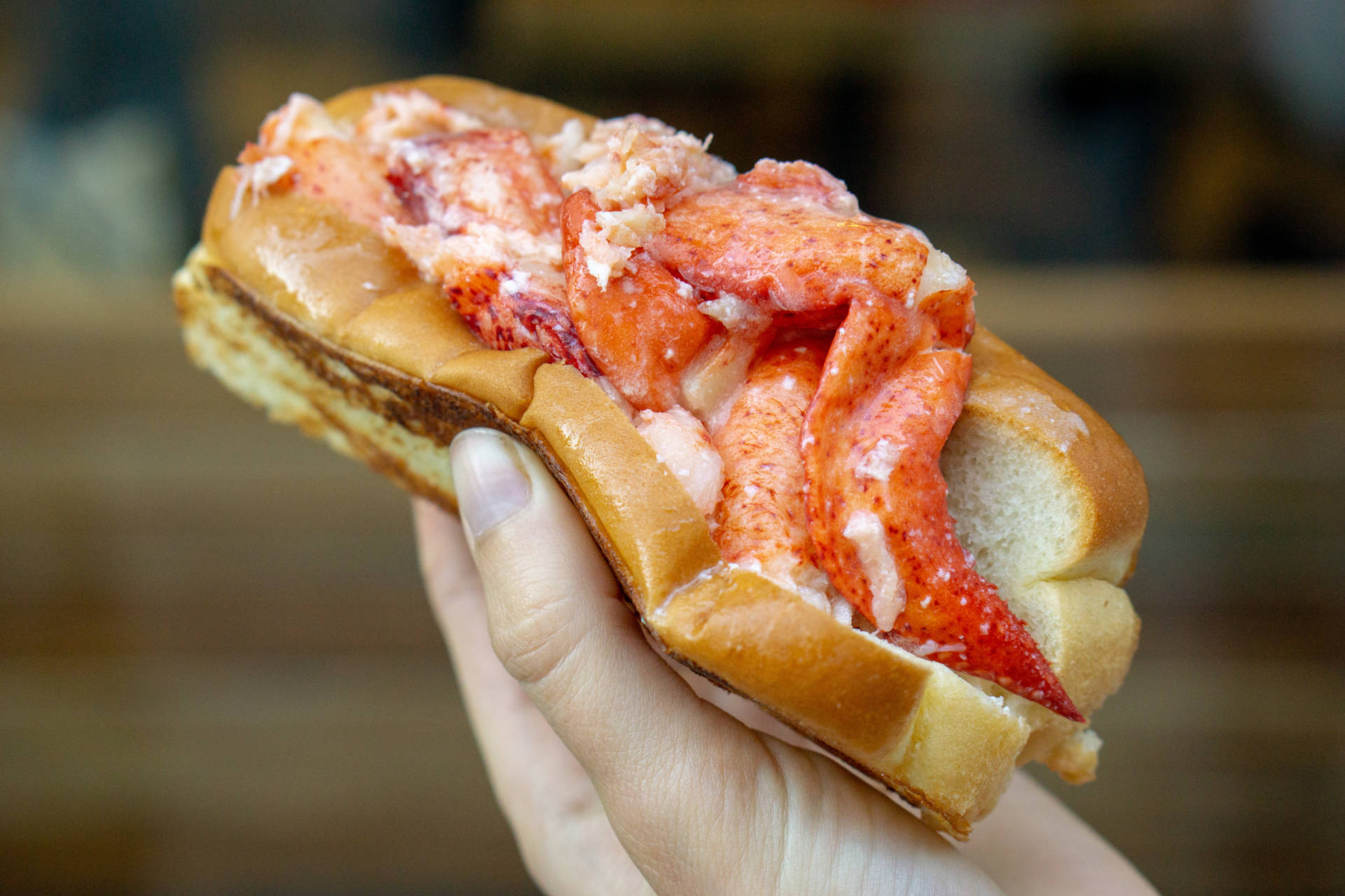 A classic lobster roll from Luke's Lobster in San Francisco.