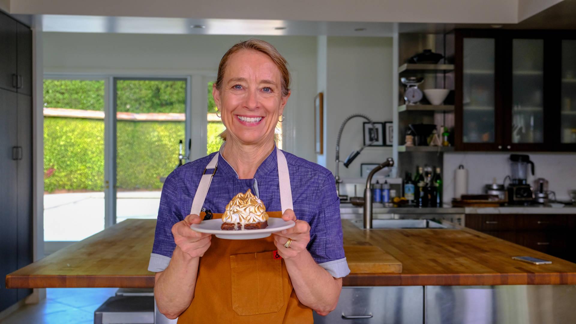 Chef Emily Luchetti holds her Baked Alaska