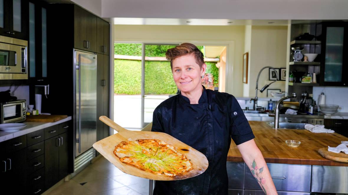 Celebrity Chefs Recipes: Jen Biesty's Squash Blossom Flatbread