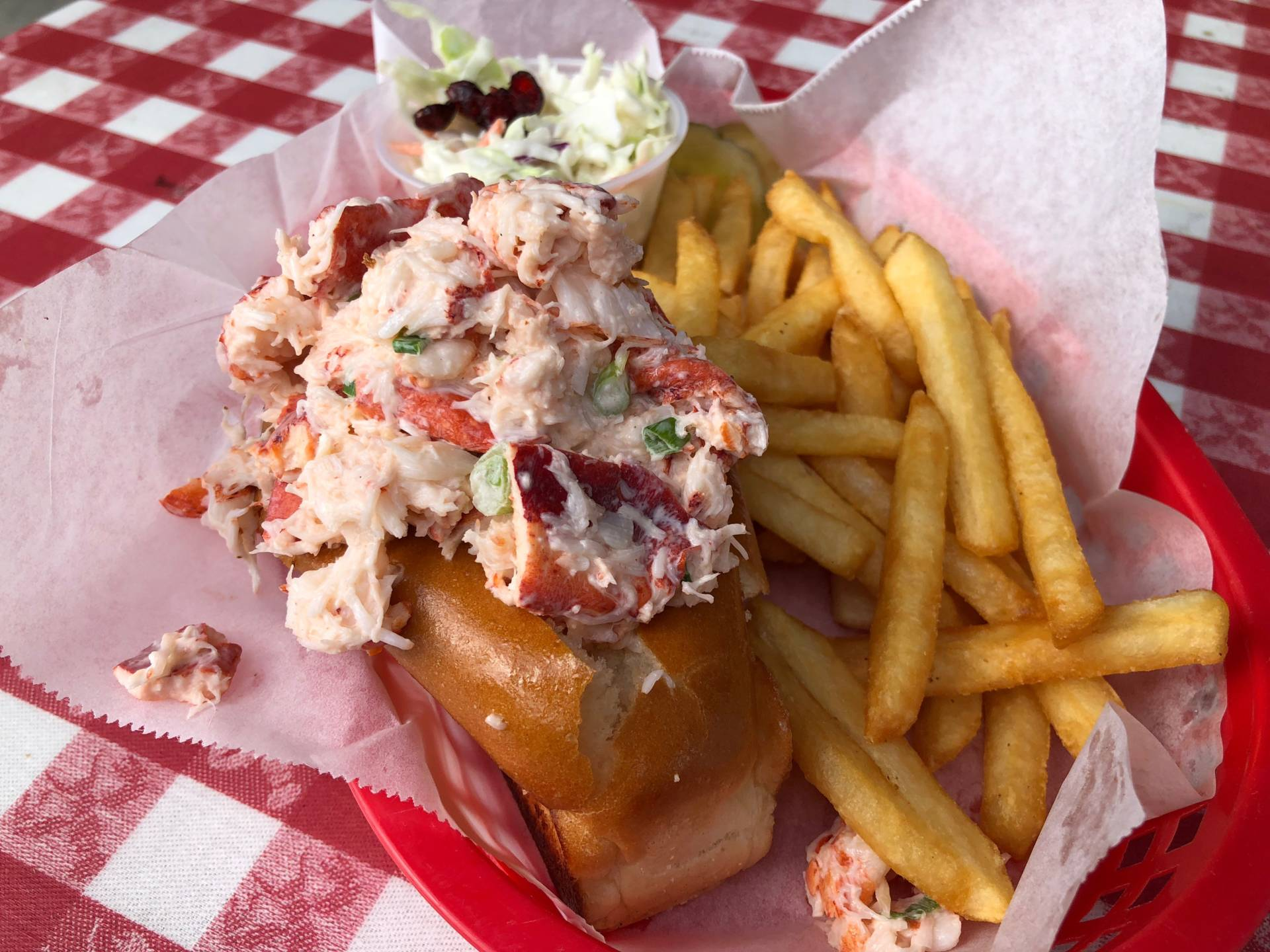 Mayonnaise-based lobster roll at Old Port Lobster Shack.