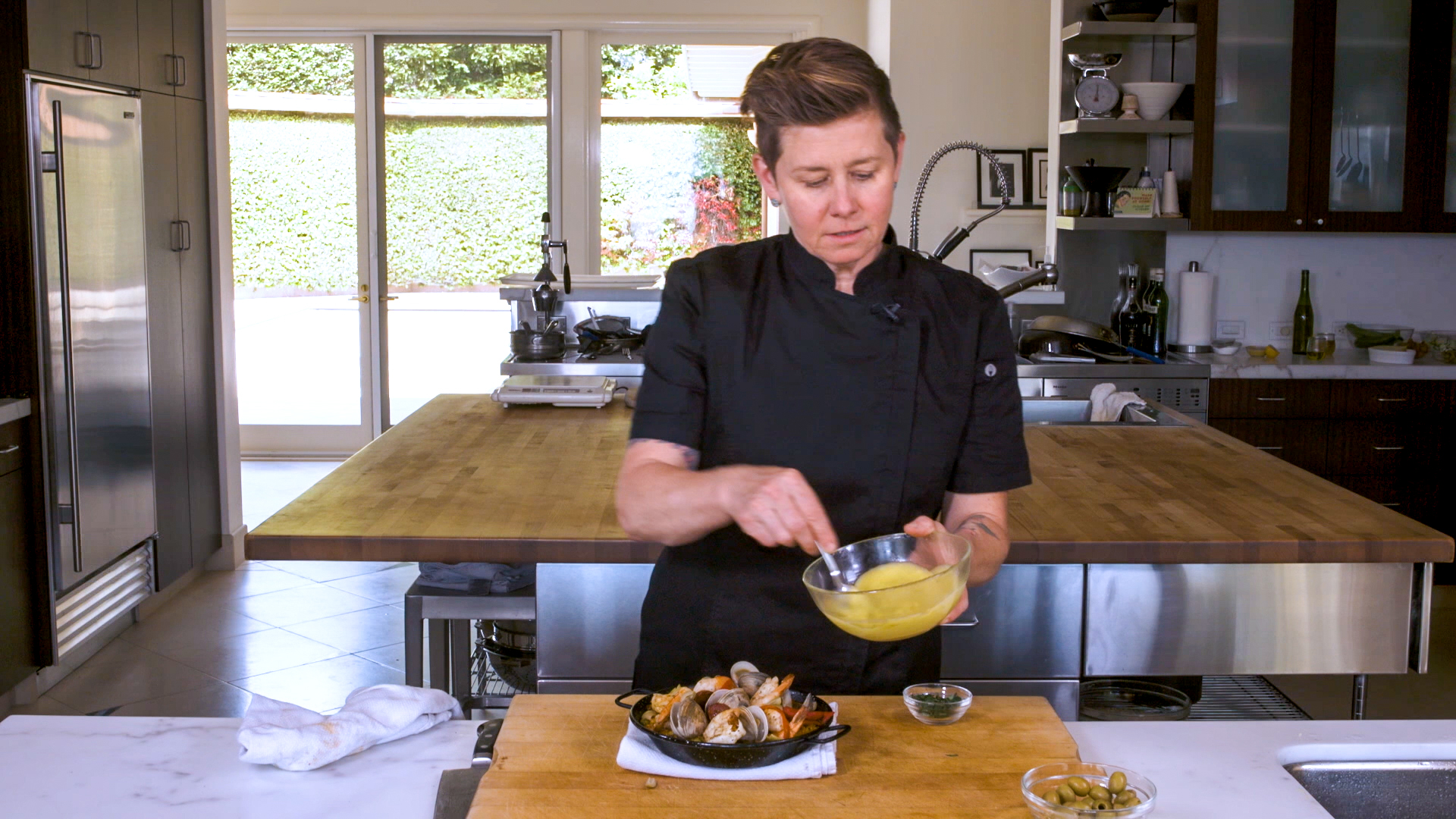 This simple aioli is a great topper for Jen Biesty's seafood paella.