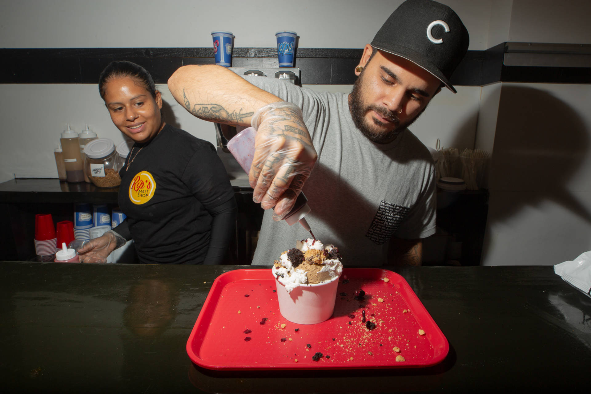 Castro makes a vegan coffee ice cream sundae at Rip's.