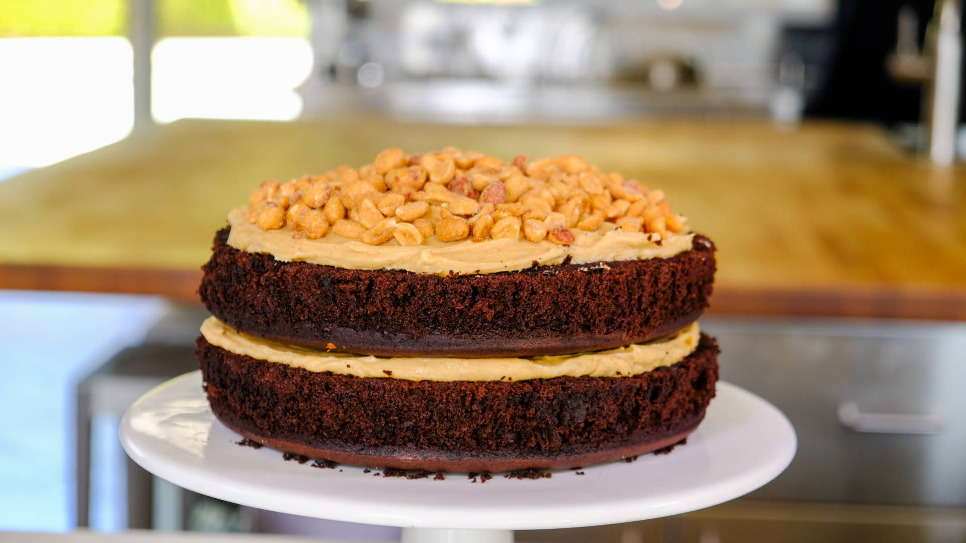 Emily Luchetti's classic chocolate layer cake with peanut butter frosting.