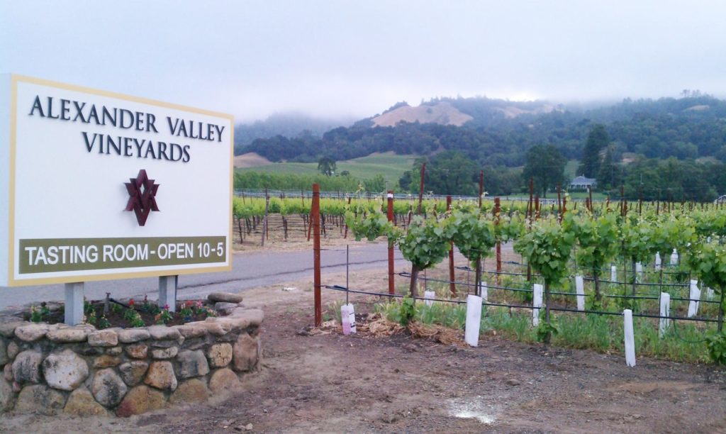 The entry to Alexander Valley Vineyards.