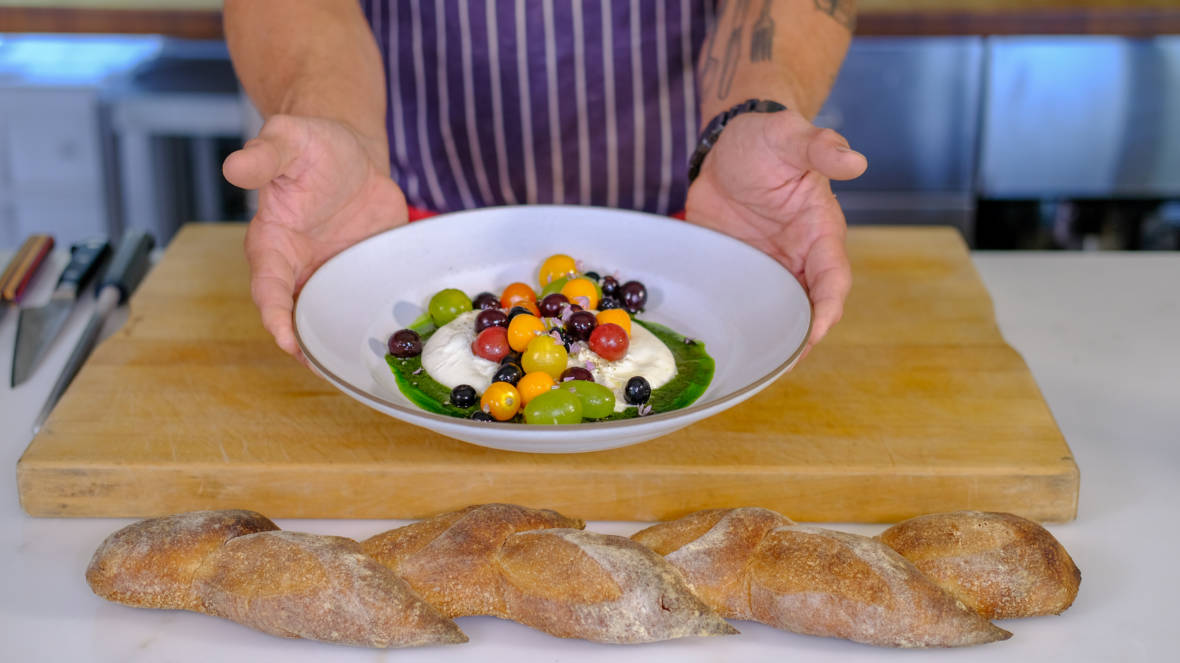 "Celebrity Chefs Recipes: Chris Cosentino's ""Taste the Rainbow"" Burrata Salad"