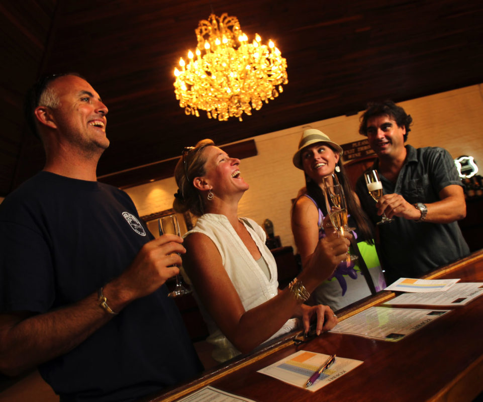 Visitors enjoy a glass of champagne at Korbel Winery, who tied for Best Tasting Room in the the Press Democrat's Best of Sonoma County competition.