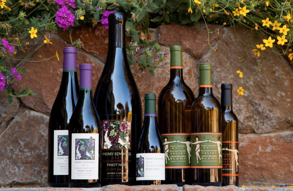 An array of wines made by Merry Edwards, photographed at her winery in Sebastopol.