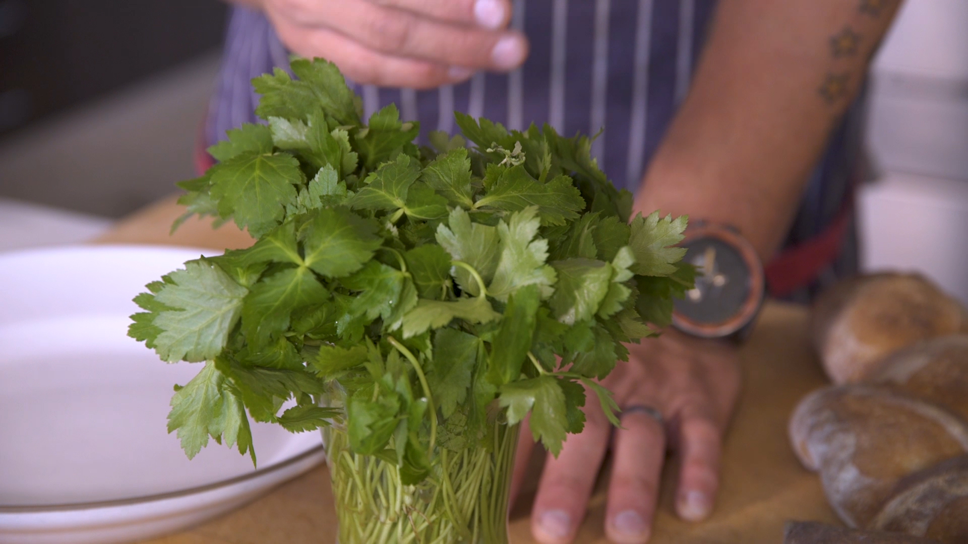 Chris Cosentino's pesto is made with mitsuba, which is sometimes known as Japanese parsley.