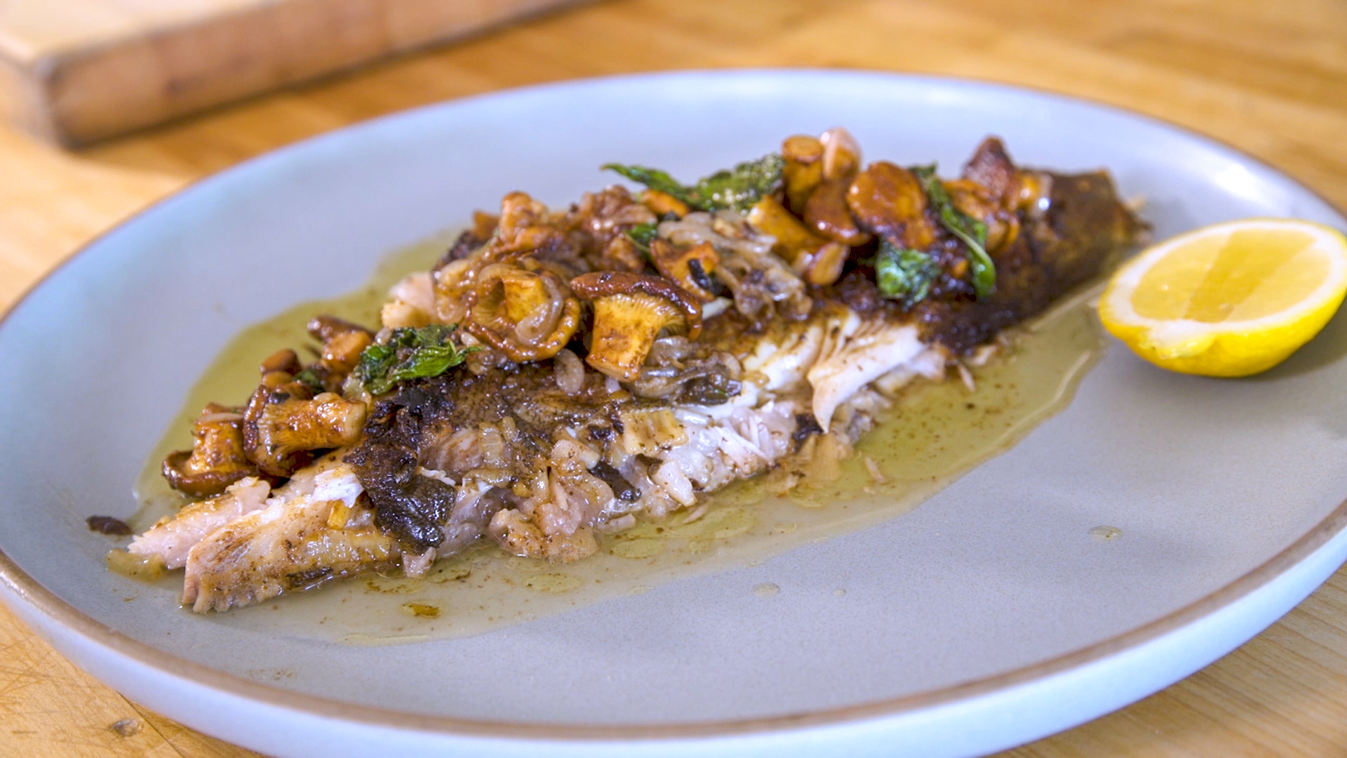 Chris Cosentino's Whole Roasted Petrale Sole with Brown Butter & Chanterelles