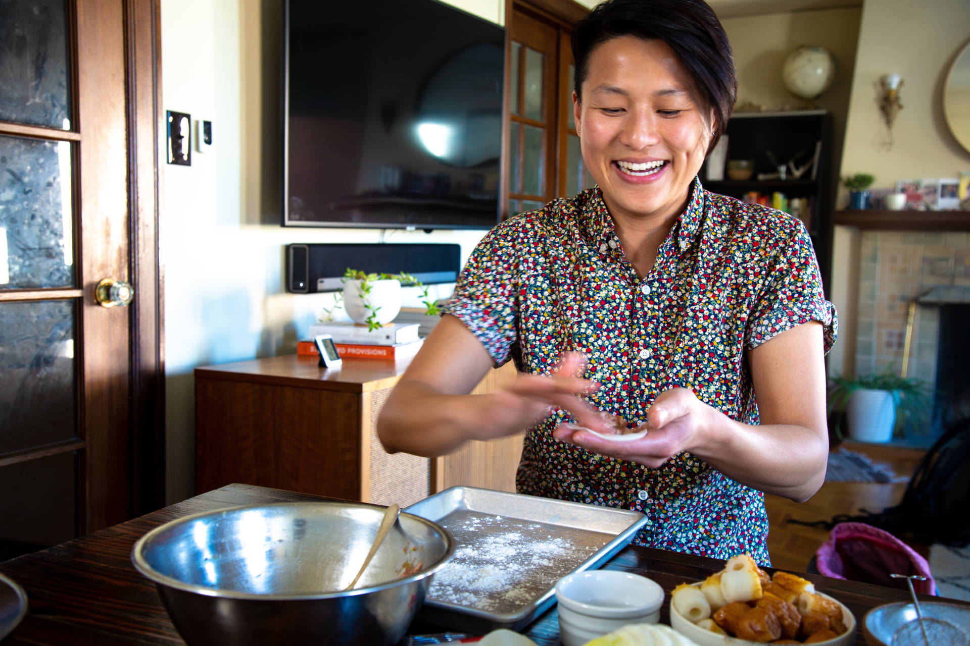 Melissa prepares dumplings for her upcoming hot pot party.