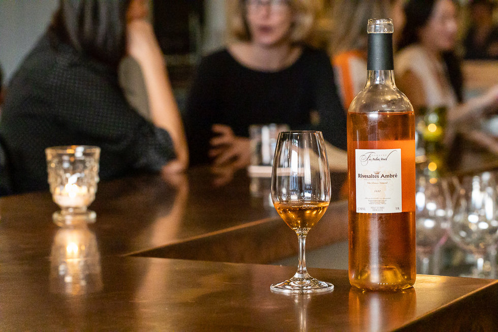 Skip traditional dessert wines like port or sherry and cap your night with a glass of Rivesaltes Ambré Domaine Fontanel—a rich, caramel-y wine with notes of dried apricots and candied orange peel.