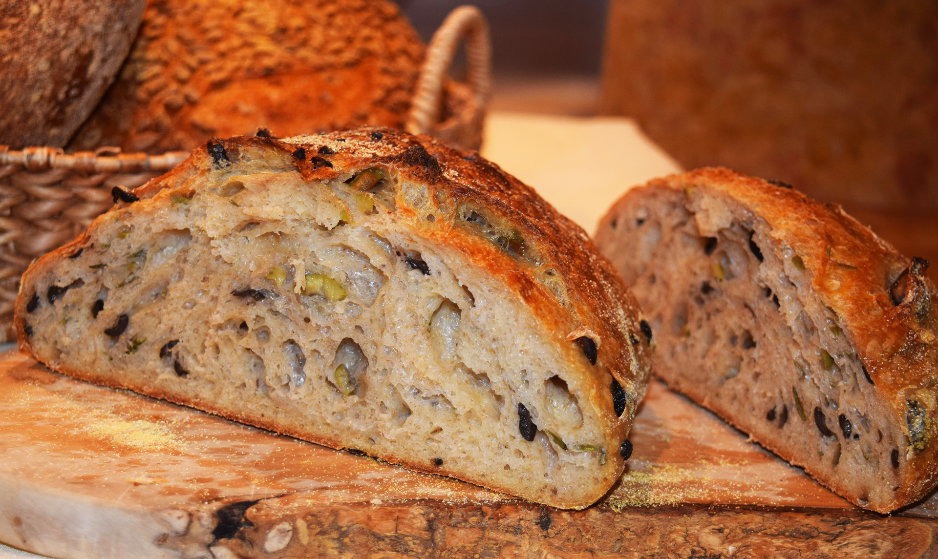 The outstanding rosemary olive bread is tangy and flavorful, with subtle hints of rosemary and two kinds of olives, black and green.