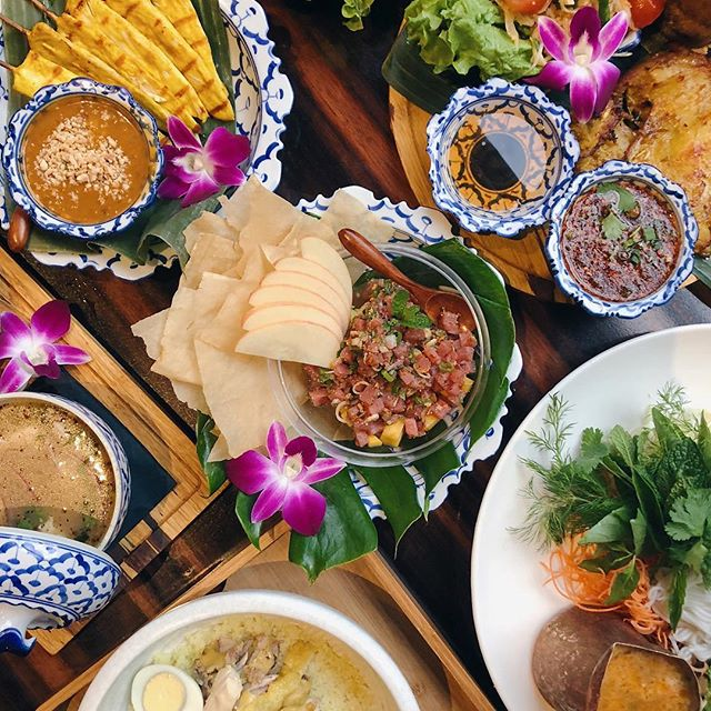 A dinner spread at Lao Table