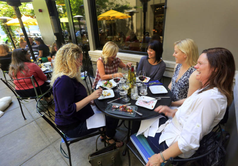 Friends (from left) Lois Lee, Kirstie Moore, Mai Love, Lisa Chadrick and Kinderlin Codding celebrate Love's 40th birthday at Willi's Seafood and Raw Bar in Healdsburg