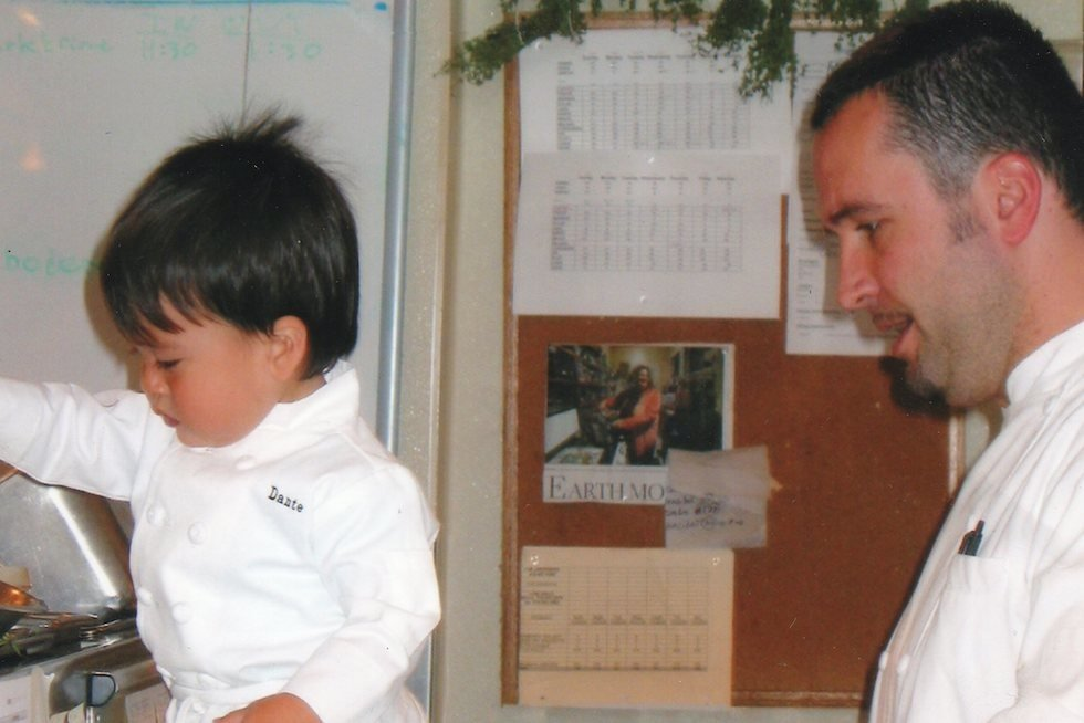 Chef Robbie Lewis with his son, Dante (who's now 16), at Jardinière back in the day.