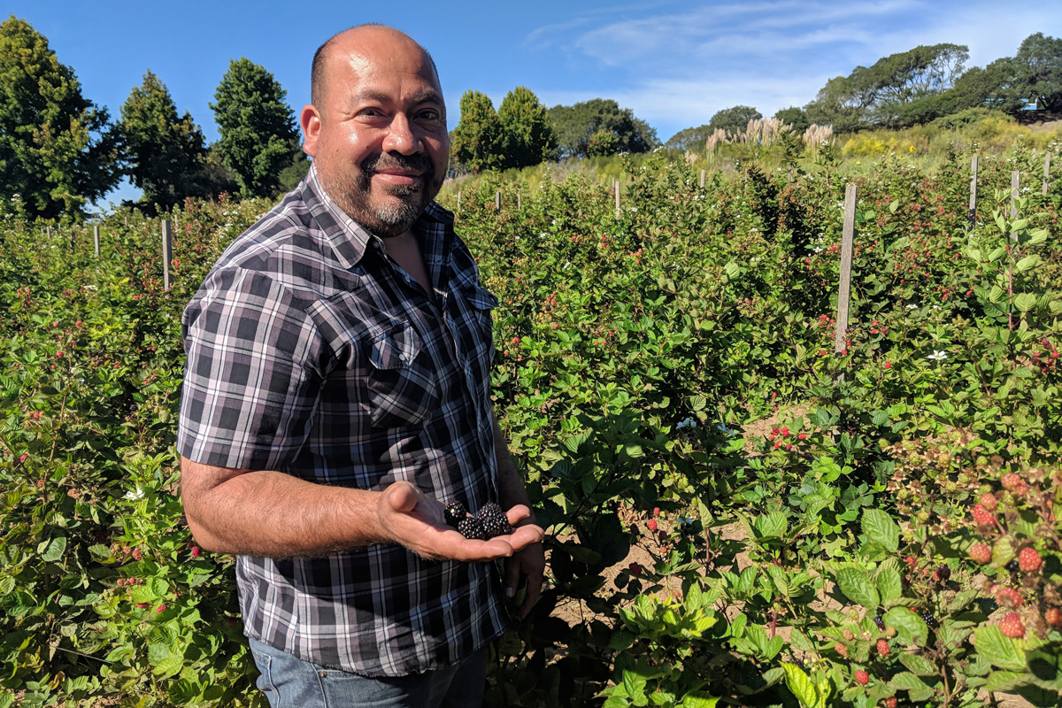 Javier Zamora on his farm