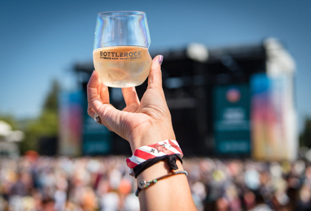A glass of rosé in the air at BottleRock