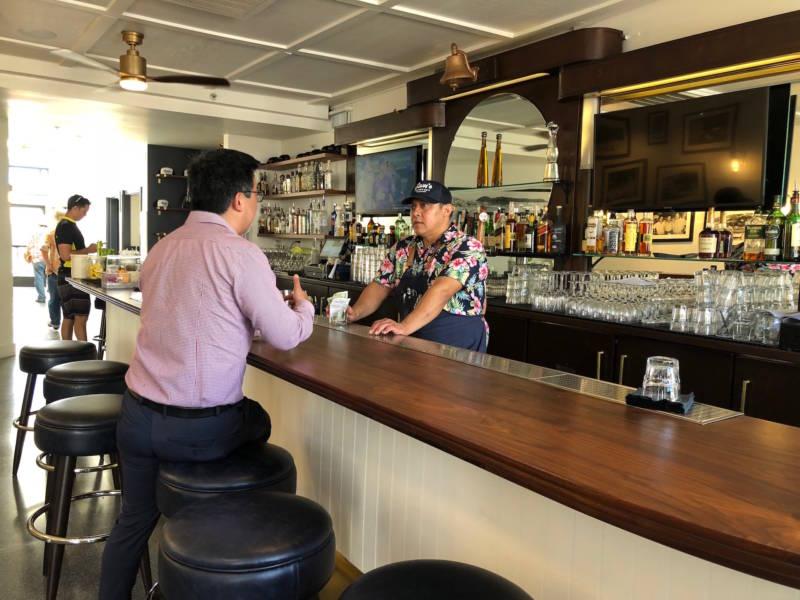 The bar at Sam's Anchor Cafe in Tiburon