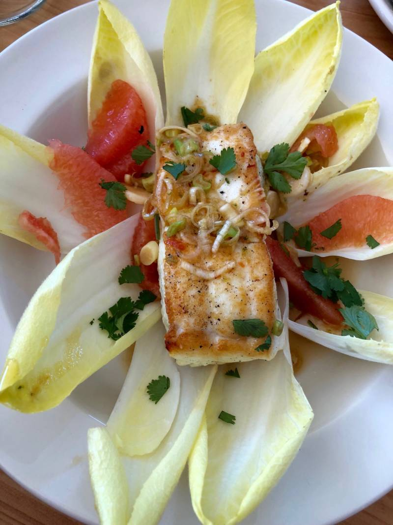 Alaskan halibut with grapefruit and endive at Tony's Seafood